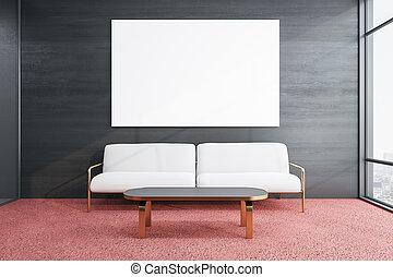 κενό , μοντέρνος , αφίσα , καναπέs , δωμάτιο , αναμονή
