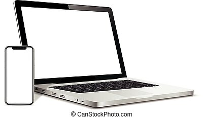κενό , μοντέρνος , smartphone, οθόνη , laptop