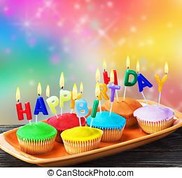 κερί, γενέθλια,  Cupcakes, ευτυχισμένος