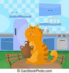 κεραμικός , γαβάθα , απολαμβάνω , γάτα , ξινό , τραπέζι , κρέμα , κουζίνα