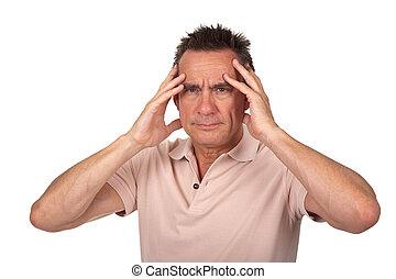 κεφάλι , άντραs , πονώ , κράτημα , πονοκέφαλοs