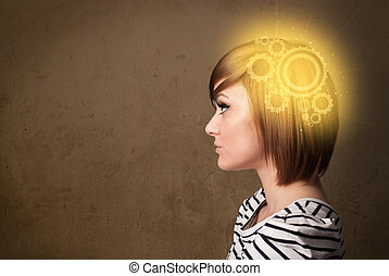 κεφάλι , έξυπνος , σκεπτόμενος , εικόνα , μηχανή , κορίτσι