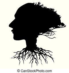 κεφάλι , ανθρώπινος , δέντρο , μικροβιοφορέας , μαύρο φόντο