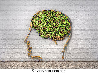 κεφάλι , γενική ιδέα , φόντο , μορφή , thinking., τοίχοs , ...