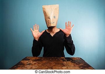 κεφάλι , δικός του , πάνω , πάνω , τσάντα , βλάκαs , ανάμιξη...