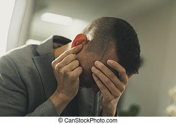 κεφάλι , δικός του , πόνος , άντραs , ανάμιξη