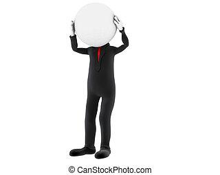 κεφάλι , δικός του , image., φόντο. , απομονωμένος , πρόσωπο , κράτημα , μικρό , άσπρο , hands., 3d