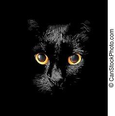 κεφάλι , μαύρο , λαμπερός , χρυσός , γάτα
