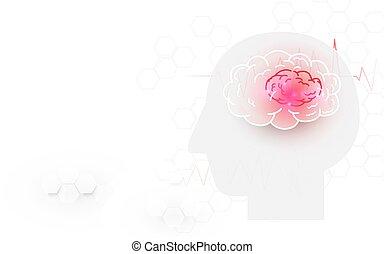 κεφάλι , φόντο , εγκέφαλοs , χτύπημα , ανθρώπινος , άσπρο