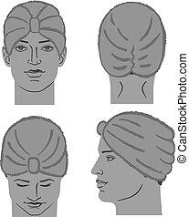 κεφάλι , φόρμα , σκούφοs , μπόρα , τουρμπάνι , ή , άντραs
