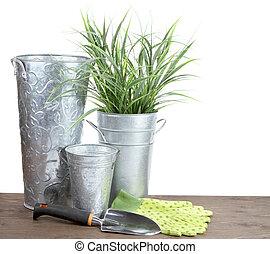 κηπουρική διαμορφώνω , εικών άψυχων πραγμάτων , με , μέταλλο , αγγείο
