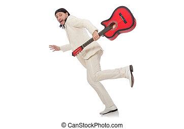 κιθάρα , άσπρο , απομονωμένος , άντραs