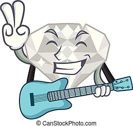 κιθάρα , άσπρο , διαμάντι , απομονωμένος , γελοιογραφία