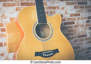 κιθάρα , ακουστικός , πλίνθινος τοίχος