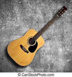 κιθάρα , ακουστικός , τοίχοs , γκρί