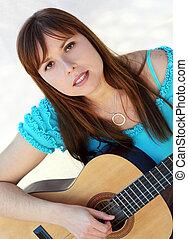 κιθάρα , γυναίκα , παίξιμο