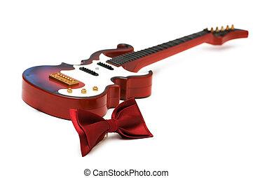 κιθάρα , δένω , άσπρο , απομονωμένος , δοξάρι