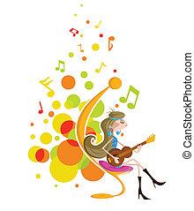 κιθάρα , κορίτσι , παίξιμο