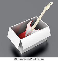 κιθάρα , μέσα , ένα , κουτί