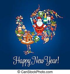 κινέζα , χαιρετισμός , κόκκοραs , έτος , καινούργιος , κάρτα
