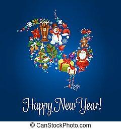 κινέζα , χαιρετισμός , κόκκοραs , σχεδιάζω , έτος , καινούργιος , κάρτα
