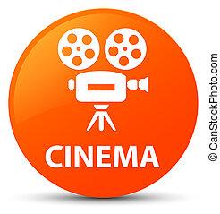 κινηματογράφοs , κουμπί , (video, φωτογραφηκή μηχανή , πορτοκάλι , icon), στρογγυλός