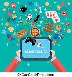κινητός , αφίσα , παιγνίδια , διασκέδαση