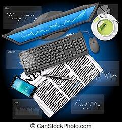 κινητός , γραφική παράσταση , οθόνη , τηλέφωνο , ηλεκτρονικός υπολογιστής , εφημερίδα , αγορά , στοκ