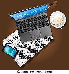 κινητός , γραφική παράσταση , laptop , τηλέφωνο , εφημερίδα , οθόνη , αγορά , στοκ