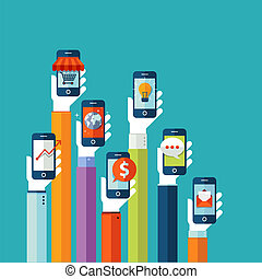 κινητός , διαμέρισμα , σχεδιάζω , γενική ιδέα , apps