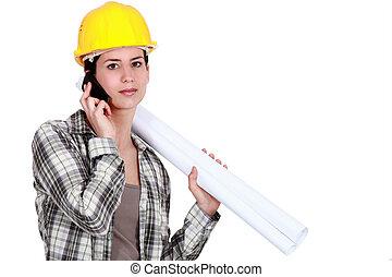 κινητός , επιστάτης , διάγραμμα , γυναίκα