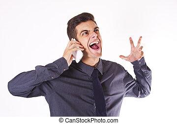 κινητός , επιχειρηματίας , θυμωμένος , τηλέφωνο