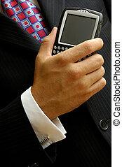 κινητός , επιχειρηματίας , χρήση υπολογιστή