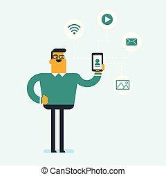 κινητός , νέος , τηλέφωνο. , κράτημα , επιχειρηματίας , καυκάσιος