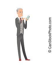 κινητός , τηλέφωνο. , κράτημα , επιχειρηματίας , αρχαιότερος , καυκάσιος