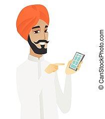 κινητός , χιντού , τηλέφωνο. , κράτημα , επιχειρηματίας