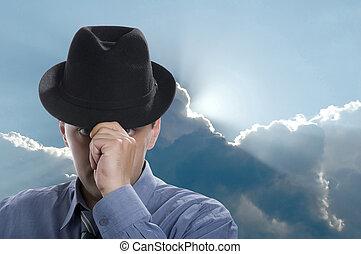 κλείνω , άντρεs , καπέλο , πάνω