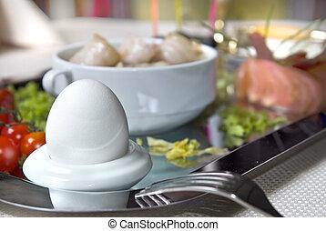 κλείνω , πρωινό , αυγό , πάνω , αγγλικός