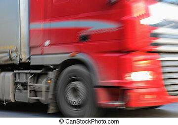 κλείνω , φορτηγό , πάνω , κόκκινο