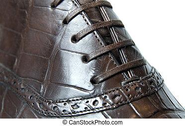 κλείνω , φωτογραφία , ανήρ , πάνω , παπούτσι