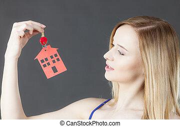 κλειδί , γυναίκα αμπάρι , σύμβολο , σπίτι