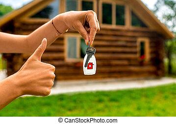 κλειδί , κράτημα , άγαρμπος εμπορικός οίκος , φόντο , εξοχικό