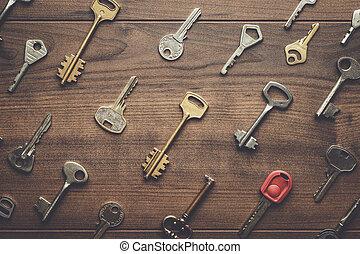 κλειδιά , πολοί , διαφορετικός , άγαρμπος βάζω στο τραπέζι