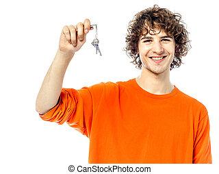 κλειδιά , πορτραίτο , νέος , κράτημα , άντραs