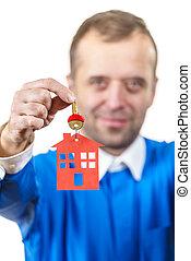 κλειδιά , σπίτι , κράτημα , άντραs