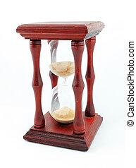 κλεψύδρα , ρολόι , μετρών την ώραν , απομονωμένος , αμμωρολόγιο , άμμοs , φόντο , άσπρο
