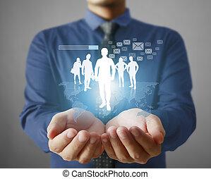 κοινωνικός , δίκτυο , δομή , μέσα , χέρι