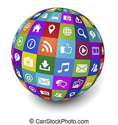 κοινωνικός , ιστός , γενική ιδέα , internet , μέσα ενημέρωσης
