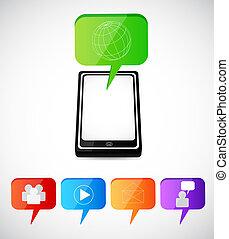 κοινωνικός , smartphone, απεικόνιση