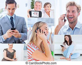 κολάζ , από , άνθρωποι , χρησιμοποιώνταs , δικό τουs , τηλέφωνο